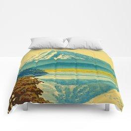 Japanese Woodblock Print Vintage Asian Art Colorful woodblock prints Mount Fuji Comforters