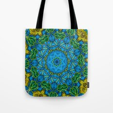 Lovely Healing Mandalas in Brilliant Colors: Blue, Gold, and Green Tote Bag