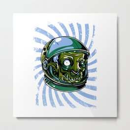 Astronaut Zombie Scary Face - I WAS TAKEN BY ALIENS Metal Print
