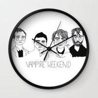 vampire weekend Wall Clocks featuring Vampire Weekend by ☿ cactei ☿