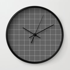Grey and White Grid Wall Clock