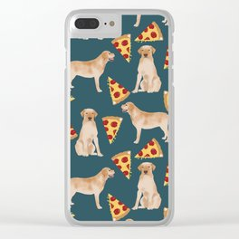 Yellow Labrador pizza cheesy slice of pizza food trendy pet gifts for yellow lab owners dog breed Clear iPhone Case