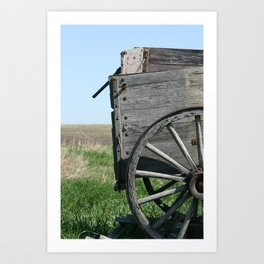 Antique Wooden Wagon in a Field Art Print