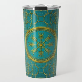 Viking protection runes helm of awe talisman Travel Mug