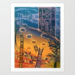 Time through Time, from Caves to Skyscraper, from Organic to Geometric Art Print