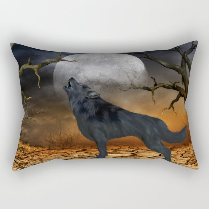 The lonely wolf Rectangular Pillow