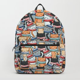 Cats in Winter Scarves & Hats Pattern Backpack