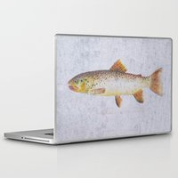 trout Laptop & iPad Skins featuring Brown Trout by Krazy Squirrel