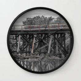 Log Jam at Wooden Trestle Bridge Wall Clock