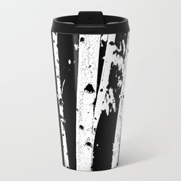 Black and White Birch Trees Fade Out Travel Mug