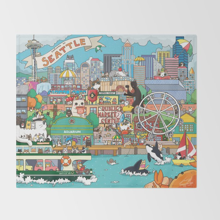 Seattle cats Throw Blanket