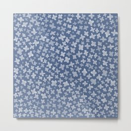 White Flowers on Blue Metal Print