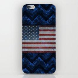 Cobalt Blue Digital Camo Chevrons with American Flag iPhone Skin