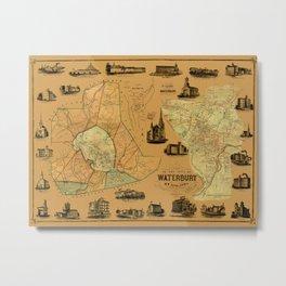 Map Of Waterbury 1852 Metal Print