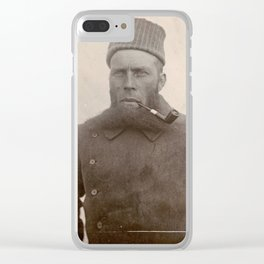Bearded Ship Captain with Pipe - Vintage Photo Clear iPhone Case