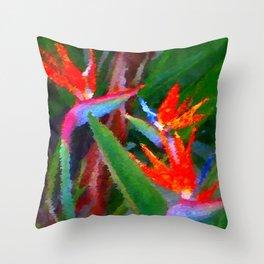 Bird of Paradise Family Abstract Throw Pillow