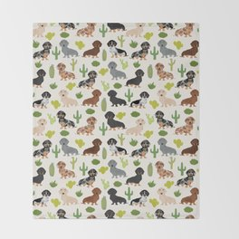 Dachshund cactus southwest dog breed gifts must have doxie dachsies Throw Blanket