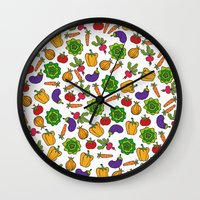 vegetables Wall Clocks featuring Vegetables by Alisa Galitsyna