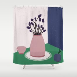 Still Life with Apple, Lavender Flowers and Cup Shower Curtain