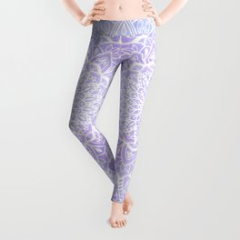 White Mandala on Pastel Blue and Purple Textured Background Leggings