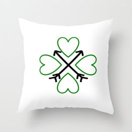 St. Patrick's Day Shamrock Lucky Charm Green Clover Veart with Arrows Throw Pillow