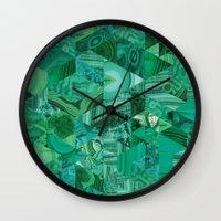 malachite Wall Clocks featuring Malachite Fusion by Kiss the Sky