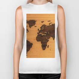 The Wooden World Map (Color) Biker Tank
