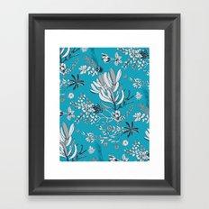 Cool Blue Cradle Flora Framed Art Print
