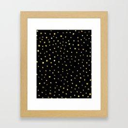 Brushed Gold Dots Framed Art Print