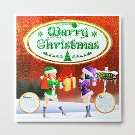 MERRY CHRISTMAS AND SEASON'S GREETINGS CARD Metal Print