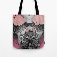 loll3 Tote Bags featuring Black Cat by lOll3