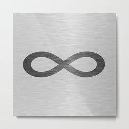 Infinity Symbol On Brushed Metal Texture Metal Print