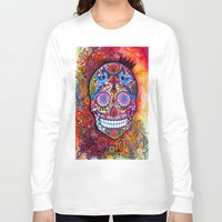 sugar skull Long Sleeve T-shirts featuring Sugar Skull by oxana zaika