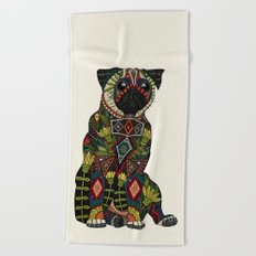 pug love ivory Beach Towel