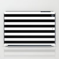stripes iPad Cases featuring Horizontal Stripes (Black/White) by 10813 Apparel