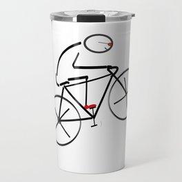 Stylized Bicyclist Travel Mug