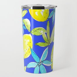 Blue Lemons and Flowers Travel Mug