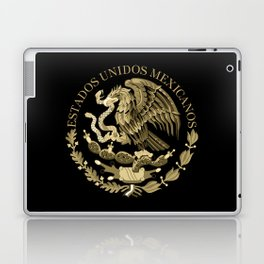Mexican flag seal in sepia tones on black bg Laptop & iPad Skin