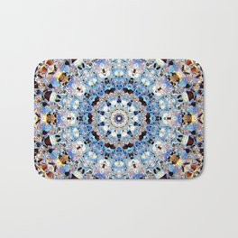 Blue Brown Folklore Texture Mandala Bath Mat