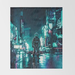 Another Rainy Night ( The Continuous Tale Of The Lost Astronauta) Throw Blanket