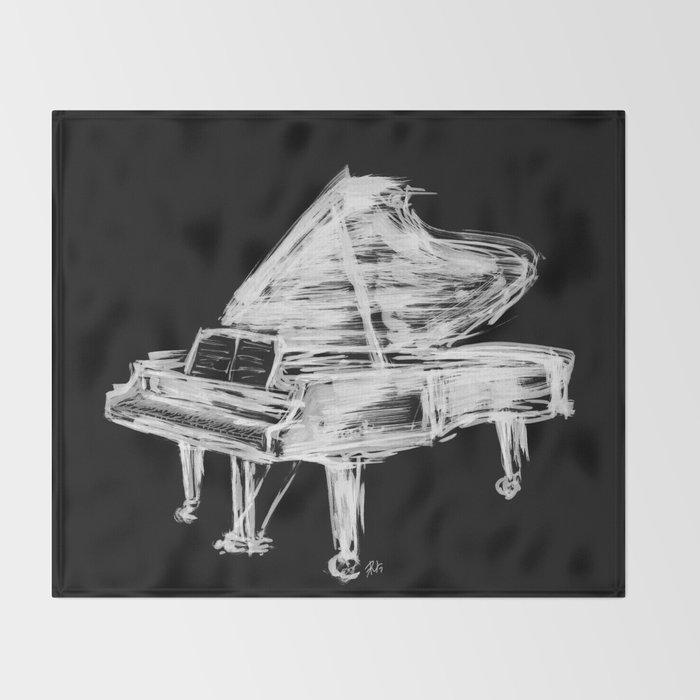 Black Piano Throw Blanket