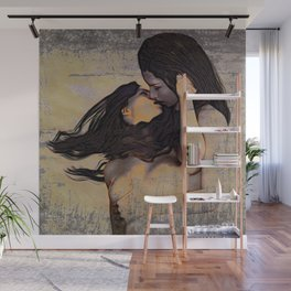 Women Kissing Wall Mural