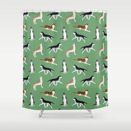 Husky Pattern (Green Background) Shower Curtain