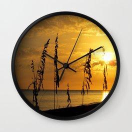 Golden Sea Oats Wall Clock