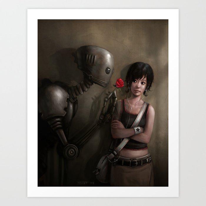 Robot In Love Art Print