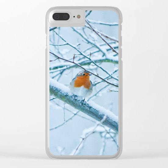 Robin in the cold Clear iPhone Case