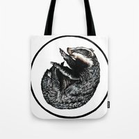 badger Tote Bags featuring Badger by Natalie Toms Illustration