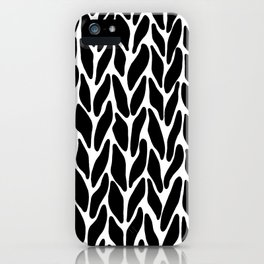 Hand Knitted Black on White iPhone Case