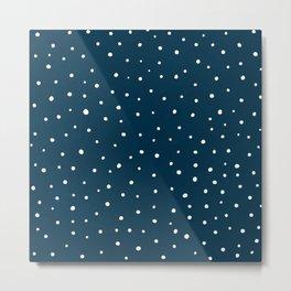 Snow polka dot on navy blue Metal Print