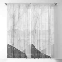 Geometric White Marble - Black Granite & Silver #230 Sheer Curtain
